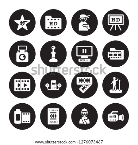 16 vector icon set   hollywood