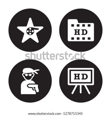 4 vector icon set   hollywood