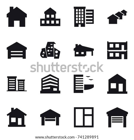 16 vector icon set : home, cottage, houses, garage, modern architecture, house with garage, modular house, district, hotel, window
