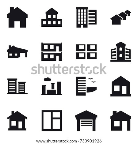 16 vector icon set : home, cottage, houses, house with garage, modular house, panel house, building, district, city, hotel, window, garage, house