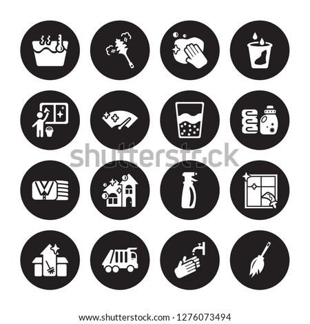 16 vector icon set : Hot water, Hand wash, Garbage truck, Cleaning House, Window, Duster, Window cleaner, Clothes Cleaning, Emulsion isolated on black background