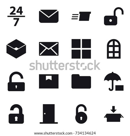 16 vector icon set   24 7  mail