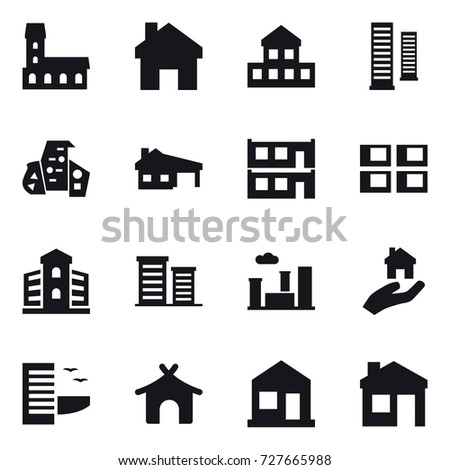 16 vector icon set : mansion, home, cottage, skyscrapers, modern architecture, house with garage, modular house, panel house, building, district, city, real estate, hotel, bungalow, house