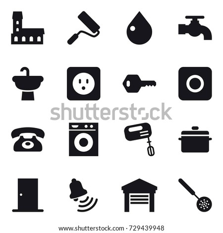 16 vector icon set   mansion