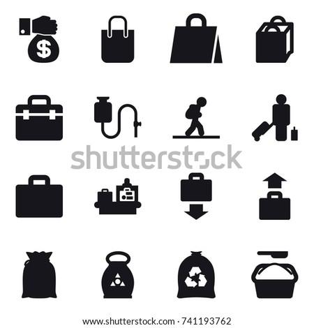 16 vector icon set : money gift, shopping bag, tourist, passenger, suitcase iocn, baggage checking, baggage get, baggage, fertilizer, garbage bag, washing powder