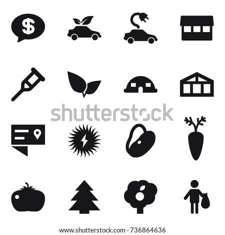 16 vector icon set : money message, eco car, electric car, market, dome house, greenhouse, tomato, spruce, garden, trash