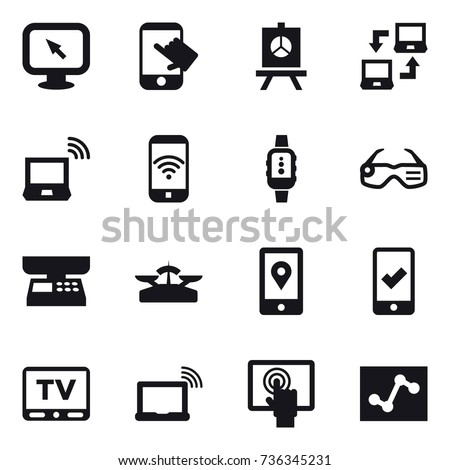 16 vector icon set : monitor arrow, touch, presentation, notebook connect, notebook wireless, phone wireless, smartwatch, smart glasses, market scales, scales, mobile checking, tv