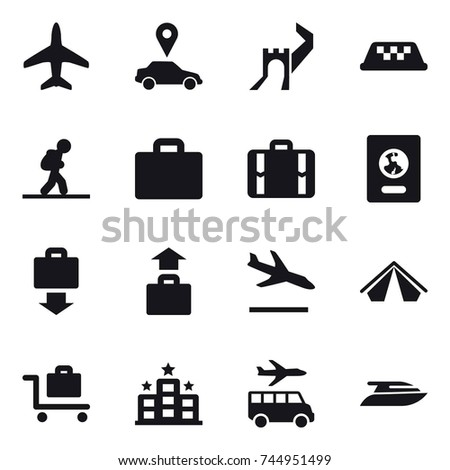 16 vector icon set : plane, car pointer, greate wall, taxi, tourist, suitcase iocn, suitcase, passport, baggage get, baggage, arrival, tent, baggage trolley, hotel, transfer, yacht