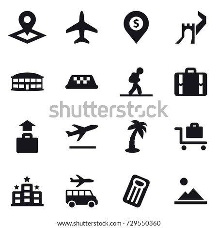 16 vector icon set : pointer, plane, dollar pin, greate wall, airport building, taxi, tourist, suitcase, baggage, departure, palm, baggage trolley, hotel, transfer, inflatable mattress, landscape