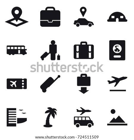 16 vector icon set : pointer, portfolio, car pointer, dome house, bus, passenger, suitcase, passport, ticket, baggage get, departure, hotel, palm, transfer, landscape