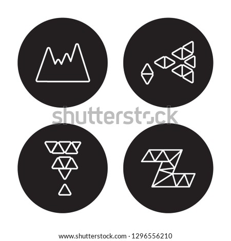 4 vector icon set : Polygonal mountains, Polygonal martini glass shape isolated on black background,  Polygonal mountains, Polygonal martini glass shape outline icons