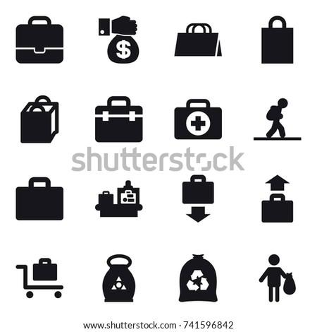 16 vector icon set : portfolio, money gift, shopping bag, tourist, suitcase iocn, baggage checking, baggage get, baggage, baggage trolley, fertilizer, garbage bag, trash