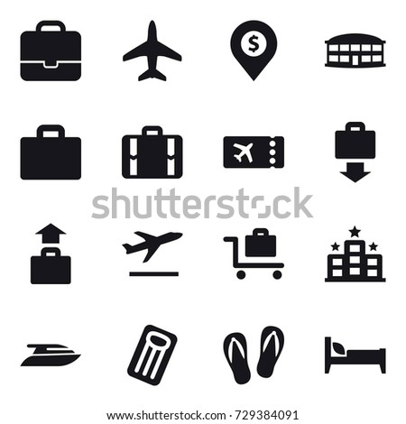 16 vector icon set : portfolio, plane, dollar pin, airport building, suitcase iocn, suitcase, ticket, baggage get, baggage, departure, baggage trolley, hotel, yacht, inflatable mattress, flip-flops