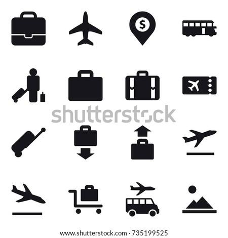 16 vector icon set : portfolio, plane, dollar pin, bus, passenger, suitcase iocn, suitcase, ticket, baggage get, baggage, departure, arrival, baggage trolley, transfer, landscape