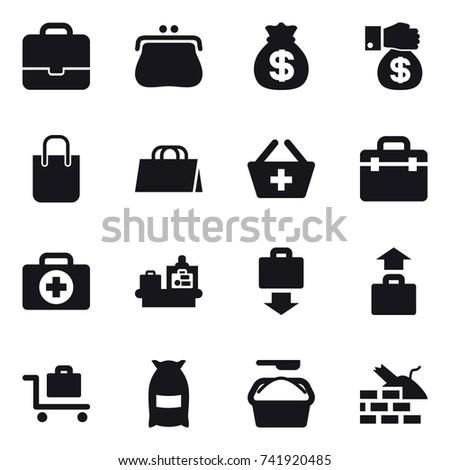 16 vector icon set : portfolio, purse, money bag, money gift, shopping bag, add to basket, baggage checking, baggage get, baggage, baggage trolley, flour, washing powder, construct garbage