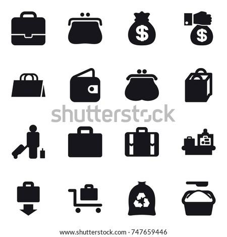 16 vector icon set : portfolio, purse, money bag, money gift, shopping bag, wallet, passenger, suitcase iocn, suitcase, baggage checking, baggage get, baggage trolley, garbage bag, washing powder