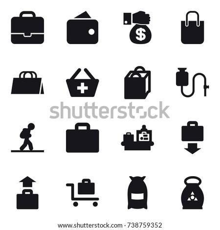 16 vector icon set : portfolio, wallet, money gift, shopping bag, add to basket, tourist, suitcase iocn, baggage checking, baggage get, baggage, baggage trolley, flour, fertilizer