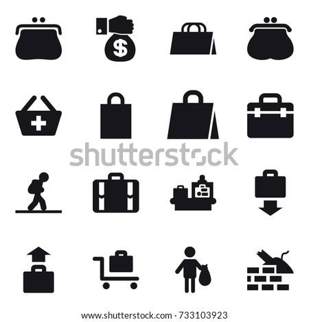16 vector icon set : purse, money gift, shopping bag, add to basket, tourist, suitcase, baggage checking, baggage get, baggage, baggage trolley, trash, construct garbage