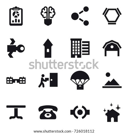 16 vector icon set : report, bulb brain, molecule, hex molecule, satellite, tower, houses, barn, school, landscape, table, phone, house cleaning