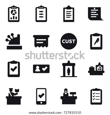 16 vector icon set : report, clipboard, shopping list, cashbox, atm receipt, check in, detector, baggage checking, inspector, mobile checking, reception, clipboard list