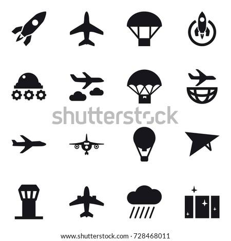 16 vector icon set   rocket