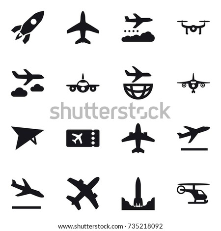 16 vector icon set : rocket, plane, weather management, drone, journey, deltaplane, ticket, airplane, departure, arrival