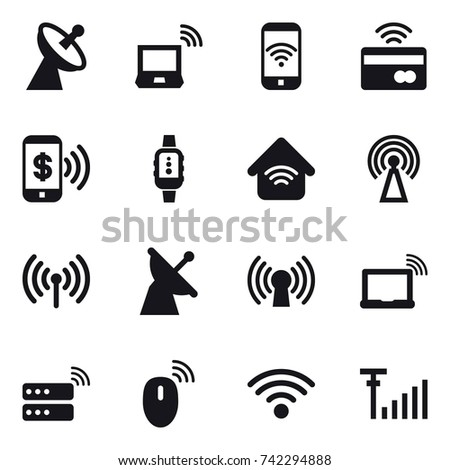 16 vector icon set : satellite antenna, notebook wireless, phone wireless, tap to pay, phone pay, smartwatch, wireless home, antenna, wireless