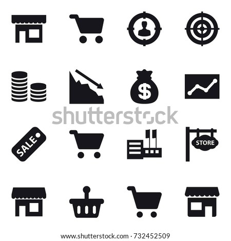 16 vector icon set : shop, cart, target audience, target, coin stack, crisis, money bag, statistic, sale, store, store signboard