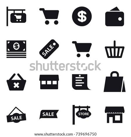 16 vector icon set : shop signboard, cart, dollar, wallet, money, sale, basket, delete cart, market, shopping list, shopping bag, store signboard, shop