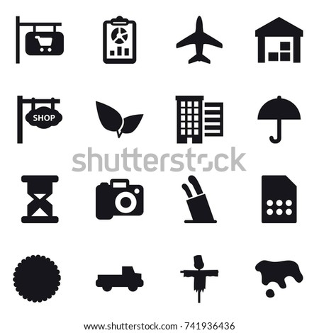 16 vector icon set : shop signboard, report, plane, warehouse, houses, camera, stands for knives, pickup, scarecrow, spot