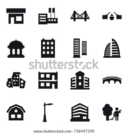 16 vector icon set : shop, store, bridge, drawbridge, goverment house, building, skyscrapers, skyscraper, modern architecture, modular house, house, outdoor light, garden cleaning