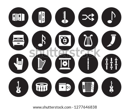 20 vector icon set : Speaker, Accordion, Disc, Drum, Electric guitar, Quaver, Lyre, Gong, Heavy metal, Musical Note, Sitar isolated on black background