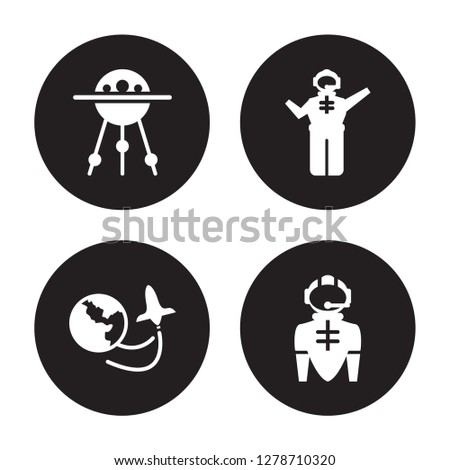 4 vector icon set : Sputnik, Space travel, Spaceman, suit isolated on black background