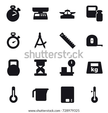 16 vector icon set : stopwatch, market scales, scales, scales weight, draw compass, ruler, measuring tape, thermometer, measuring cup, kitchen scales