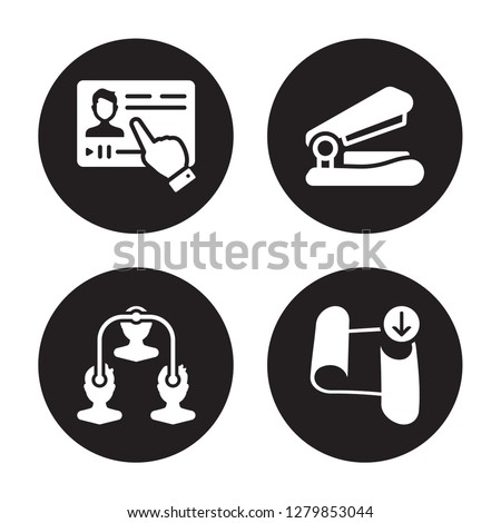 4 vector icon set : Streaming, Sociology, Stapler, Sheet isolated on black background