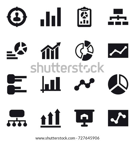 16 vector icon set : target audience, graph, report, hierarchy, diagram, circle diagram, statistic, structure, graph up, presentation