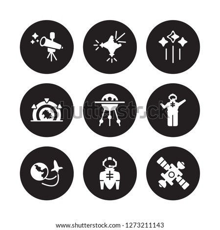9 vector icon set : Telescope, Supernova, Space travel, Spaceman, Sputnik, Stars, Stargate, suit isolated on black background