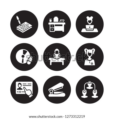 9 vector icon set : Test, Teacher desk, Streaming, Student, Study, Studying, Study tools, Stapler isolated on black background