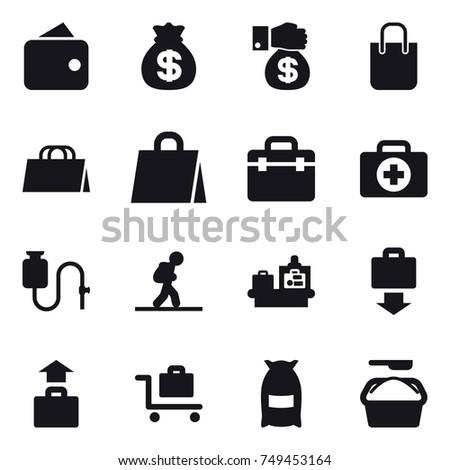 16 vector icon set : wallet, money bag, money gift, shopping bag, tourist, baggage checking, baggage get, baggage, baggage trolley, flour, washing powder
