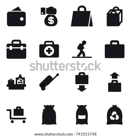 16 vector icon set : wallet, money gift, shopping bag, tourist, suitcase iocn, baggage checking, suitcase, baggage get, baggage, baggage trolley, flour, garbage bag