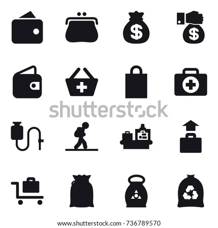 16 vector icon set : wallet, purse, money bag, money gift, add to basket, shopping bag, tourist, baggage checking, baggage, baggage trolley, fertilizer, garbage bag