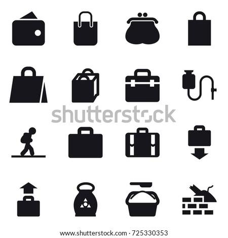 16 vector icon set : wallet, shopping bag, purse, tourist, suitcase iocn, suitcase, baggage get, baggage, fertilizer, washing powder, construct garbage