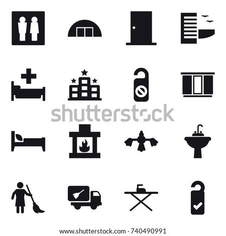 16 vector icon set   wc  hangar ...