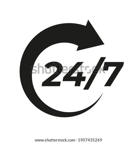 24 7 vector icon. Sign for order execution or delivery service ストックフォト ©