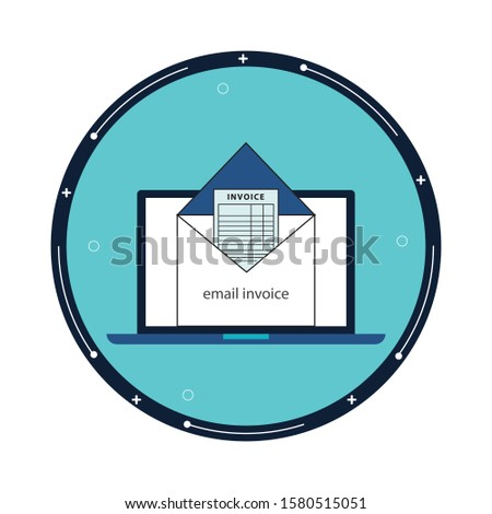 Vector Icon Style Illustration Concept of Electronic E-Invoice Mail Paper Inbox