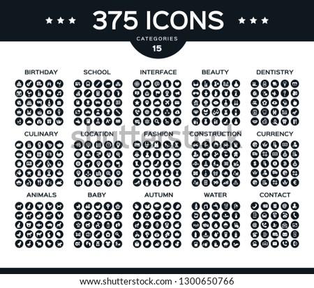 375 vector icons  beauty, fashion, baby,school, education, anima