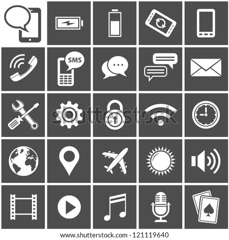 25 Vector Icons for mobile applications. Mobile Interface Icon Set. Simplus series. Each icon is a single object (compound path)