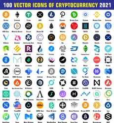 100 vector icons of Cryptocurrency 2021