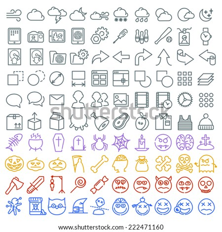 100 vector icons set for web