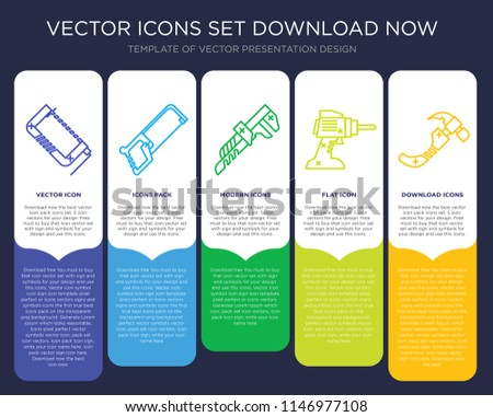 5 vector icons such as Clamp, Hacksaw, Pipe wrench, Drill, Hammer for infographic, layout, annual report, pixel perfect icon